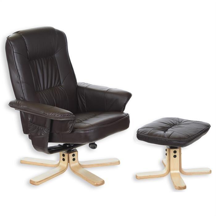IDIMEX Fauteuil de relaxation avec repose-pieds CHARLY, en synthétique brun