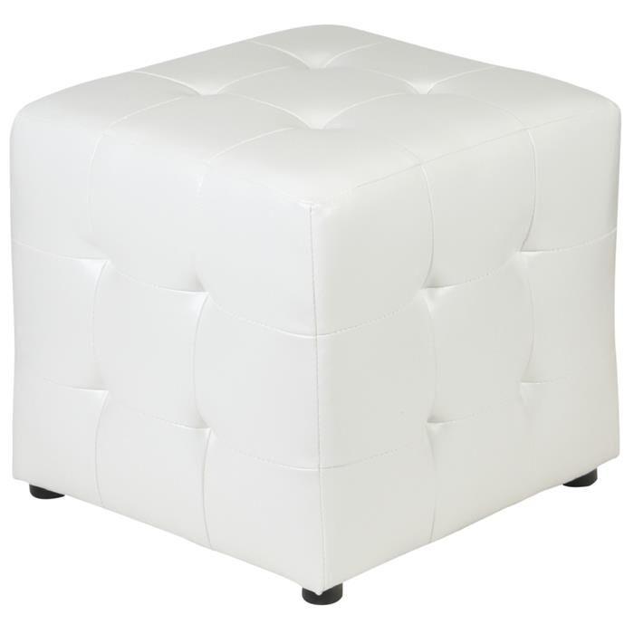 IDIMEX Tabouret pouf cubique DIANA, revêtement synthétique blanc