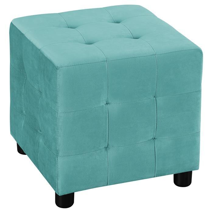IDIMEX Tabouret pouf cubique BAZAR, en velours turquoise