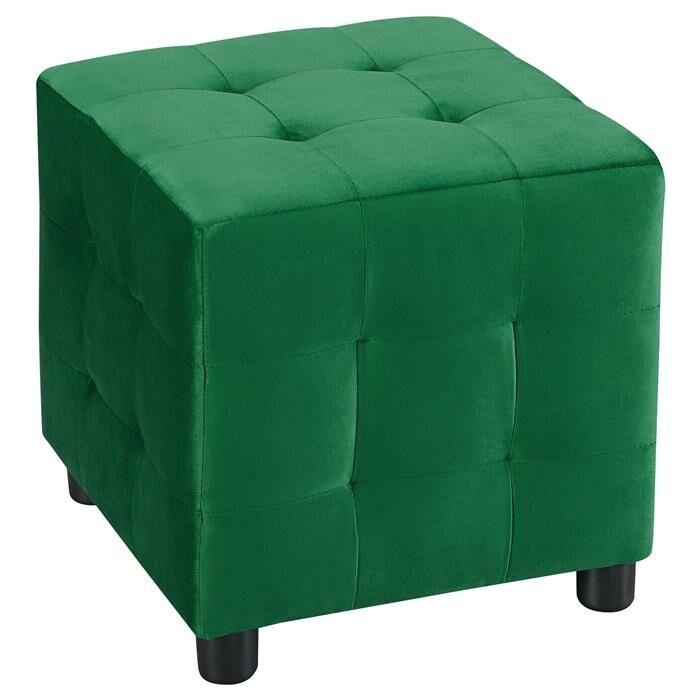 IDIMEX Tabouret pouf cubique BAZAR, en velours vert