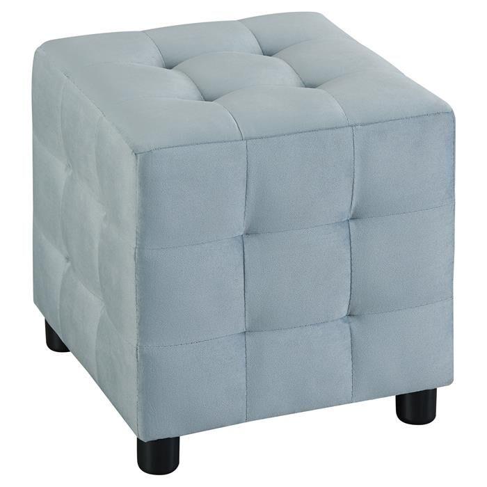 IDIMEX Tabouret pouf cubique BAZAR, en velours bleu clair