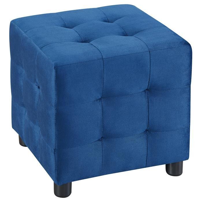 IDIMEX Tabouret pouf cubique BAZAR, en velours bleu foncé