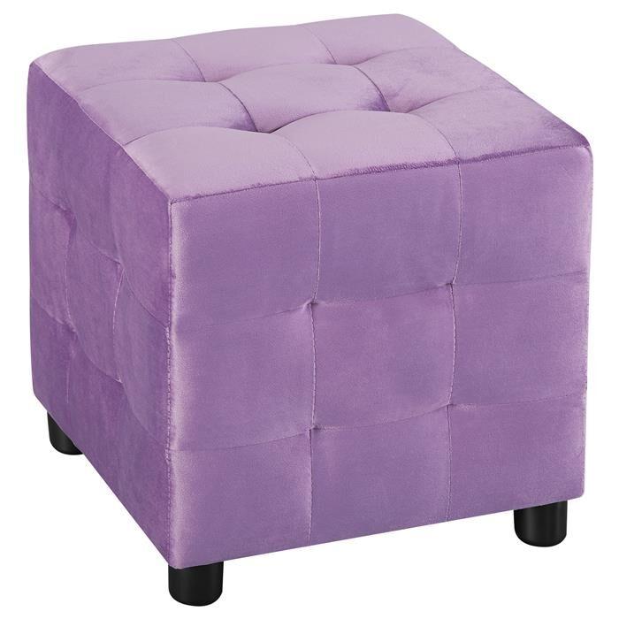 IDIMEX Tabouret pouf cubique BAZAR, en velours couleur lilas