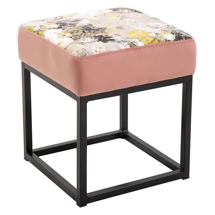 IDIMEX Tabouret pouf carré MARBELLA avec motifs fleurs, en velours cuivre