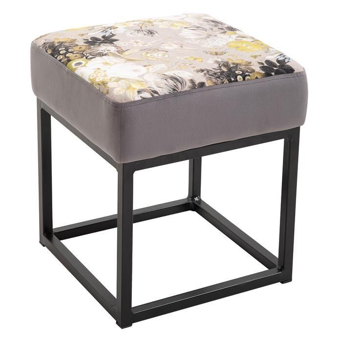 IDIMEX Tabouret pouf carré MARBELLA avec motifs fleurs, en velours gris