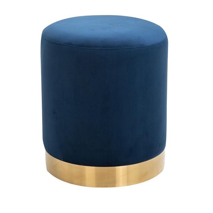 IDIMEX Tabouret pouf OMERO, en velours bleu