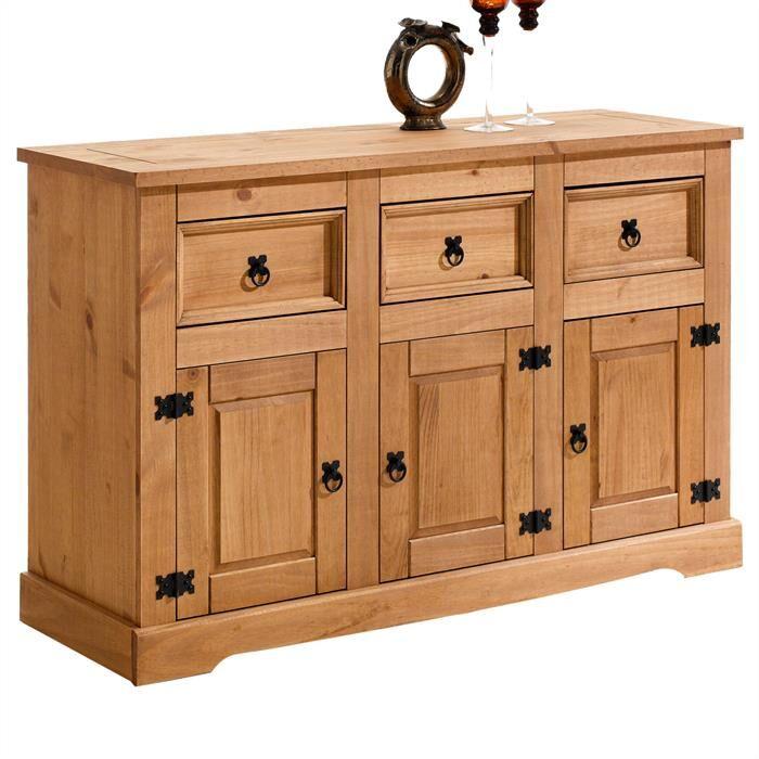 IDIMEX Buffet en pin TEQUILA, 3 tiroirs et 3 portes, finition cirée