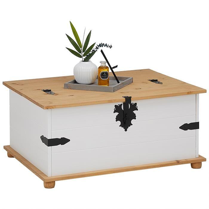 IDIMEX Table basse coffre en pin TEQUILA style mexicain, avec 5 tiroirs, lasuré blanc et brun