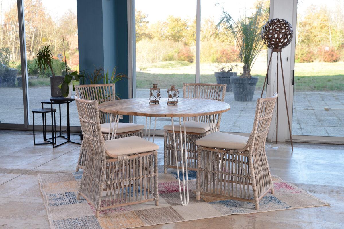 Meuble House Table ronde métal et bois blanc