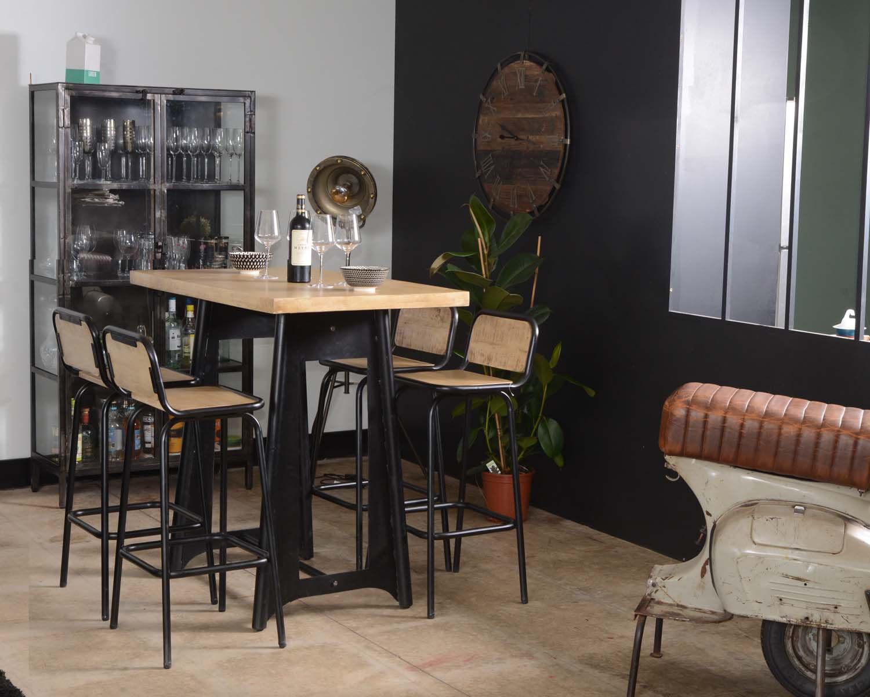 Meuble House Table haute industrielle 120cm métal et bois
