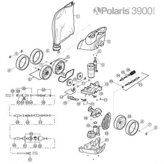 Polaris N°16 - Bloc essieu avant POLARIS 3900S