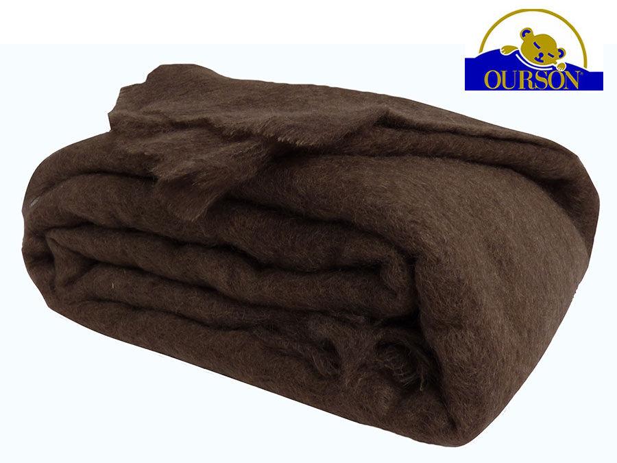 OURSON Couverture mohair ourson 320g chocolat 240x260