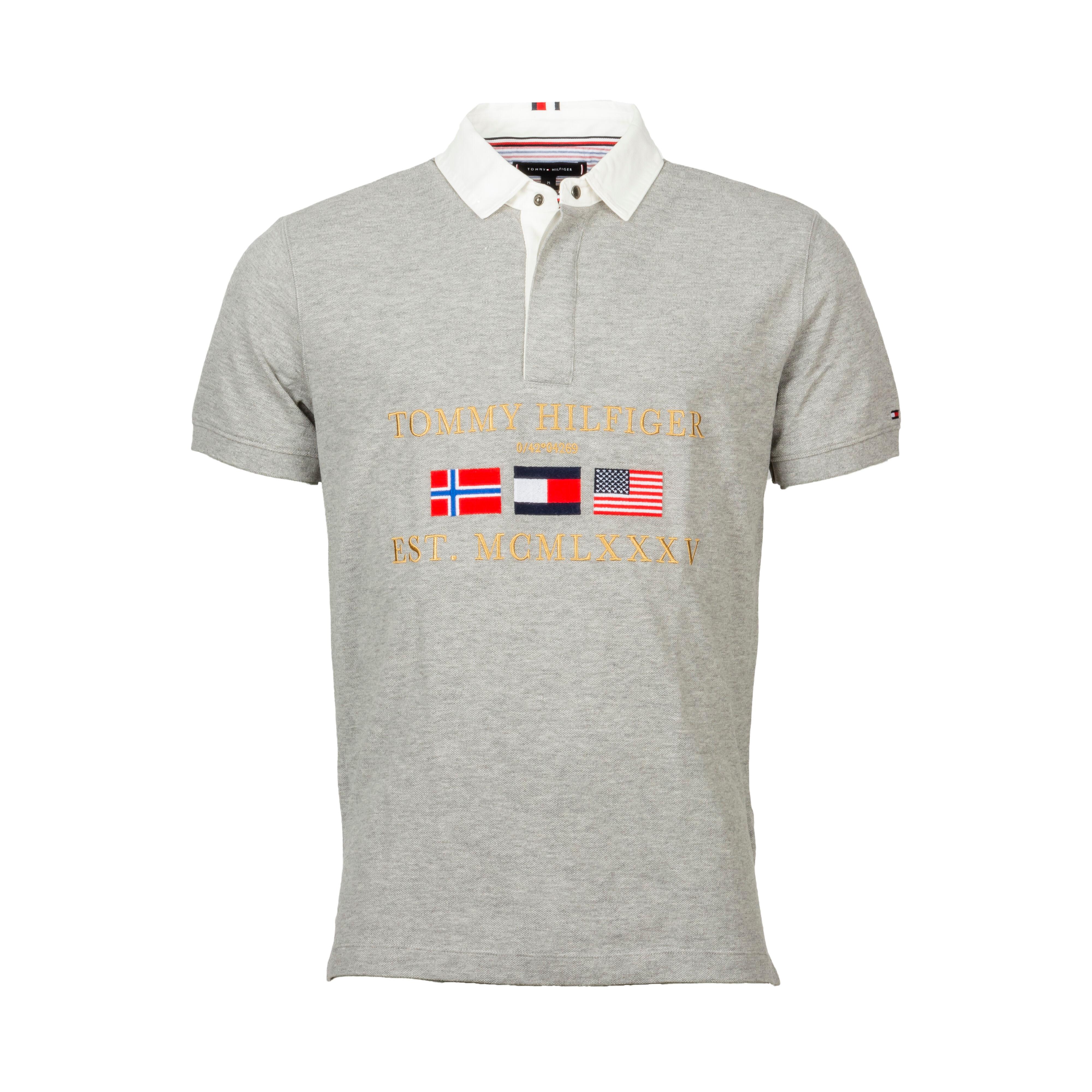 Tommy Hilfiger Polo manches courtes Tommy Hilfiger Relaxed Rugby en coton piqué gris chiné - GRIS - XL