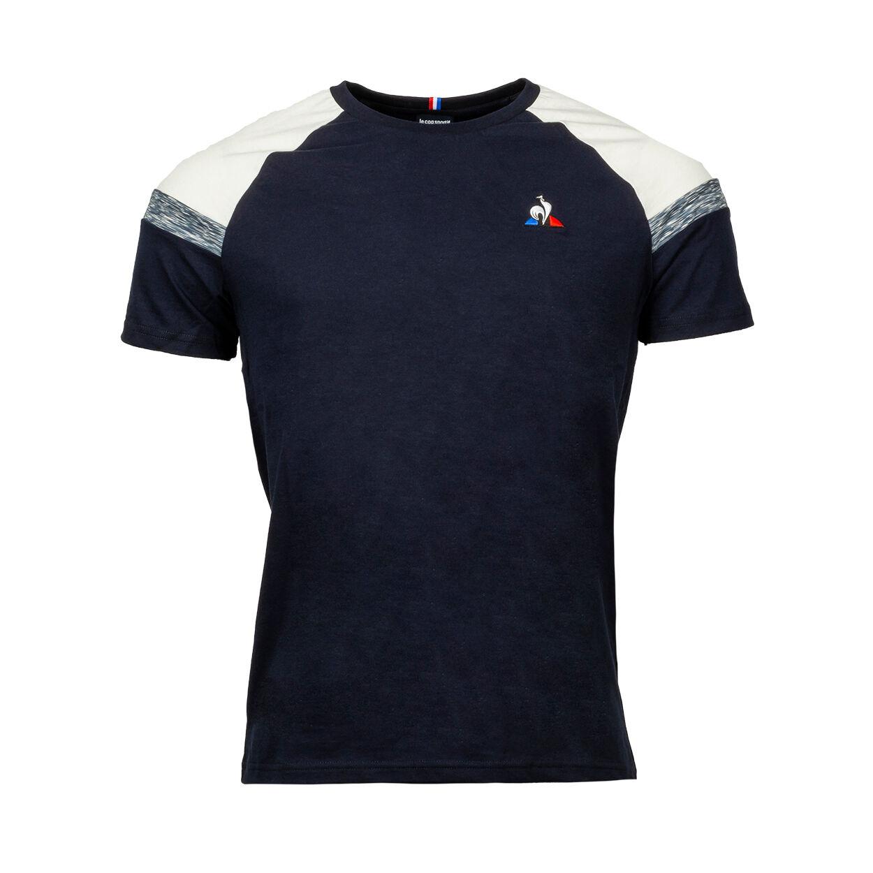 Le Coq Sportif Tee-shirt col rond Le Coq Sportif en coton bleu marine à liserés blancs et gris - BLEU MARINE - XS