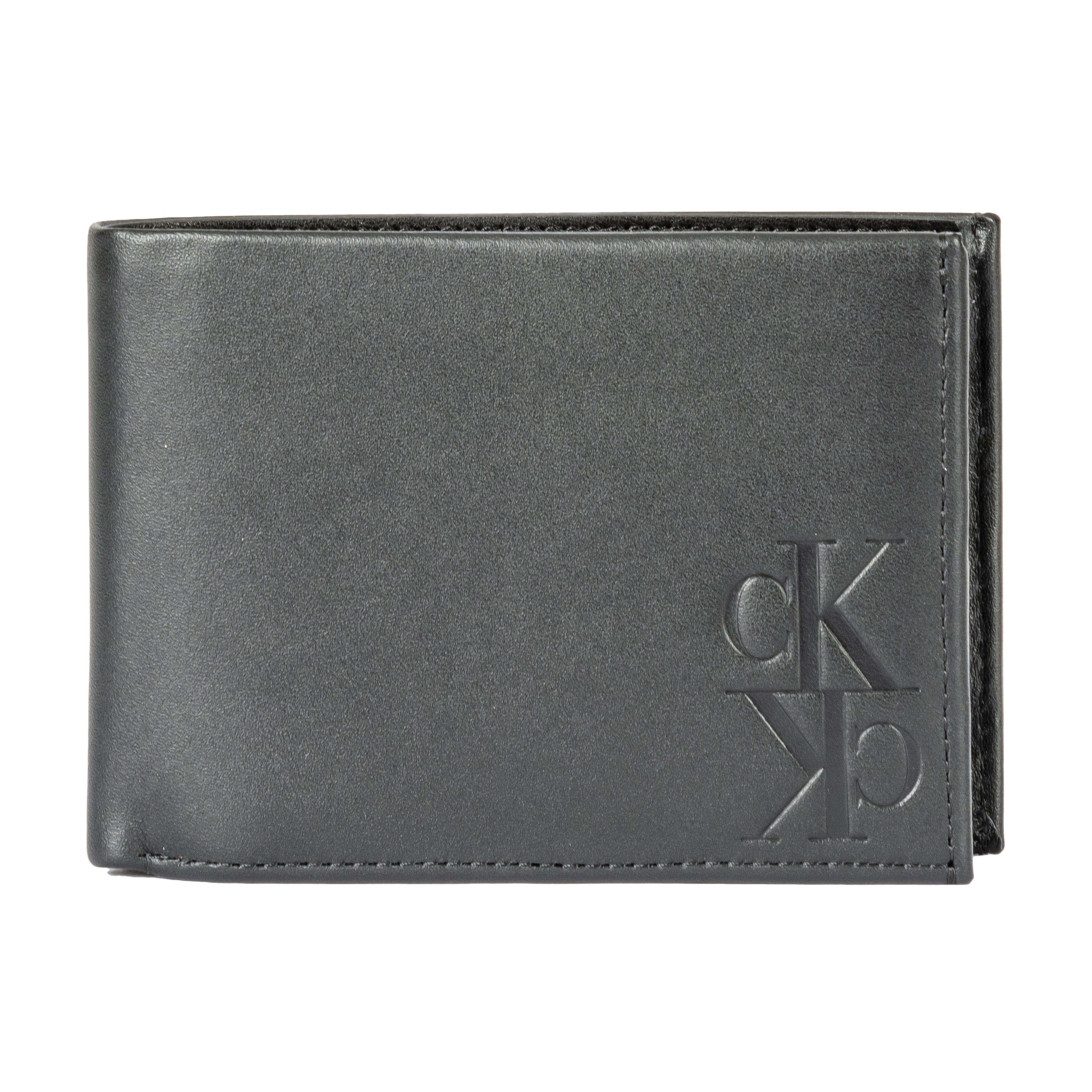 Calvin Klein Jeans Accessoires Portefeuille italien 3 volets Mirror Monogram Billfold Calvin Klein Jeans en cuir noir