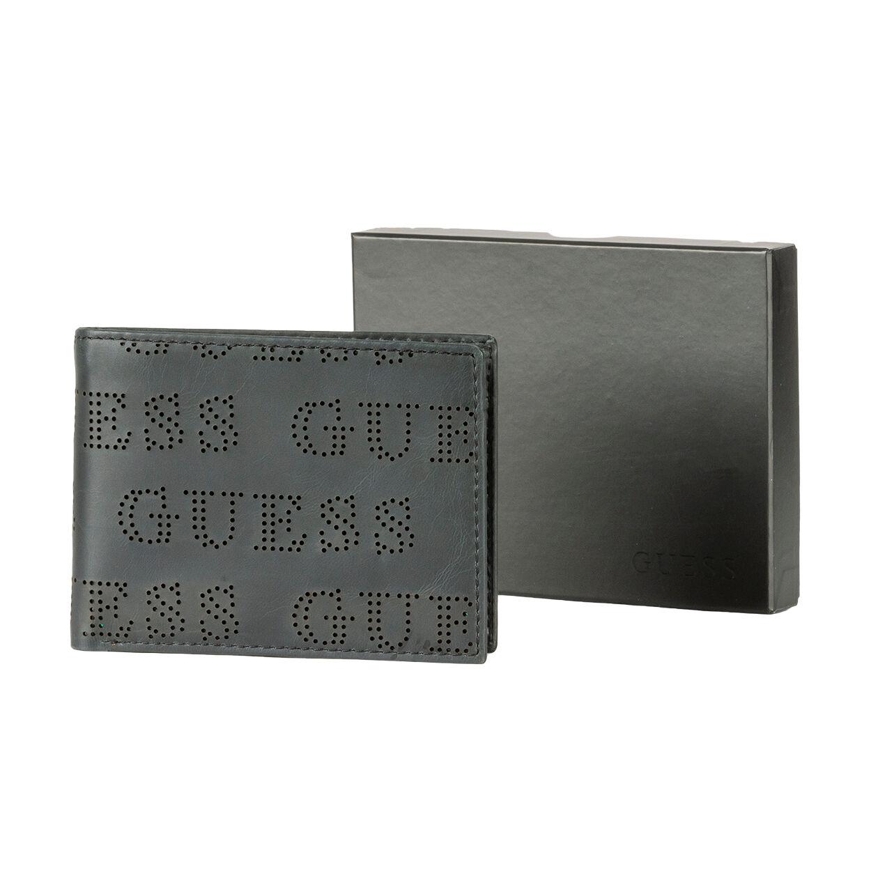 Guess Accessoires Portefeuille italien Guess noir logotypé à trous - NOIR -