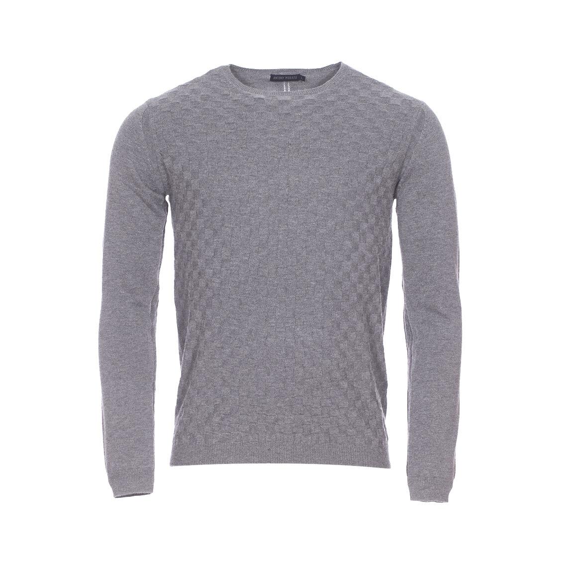 Antony Morato Pull col rond Antony Morato en coton et laine gris, effet quadrillé - GRIS -