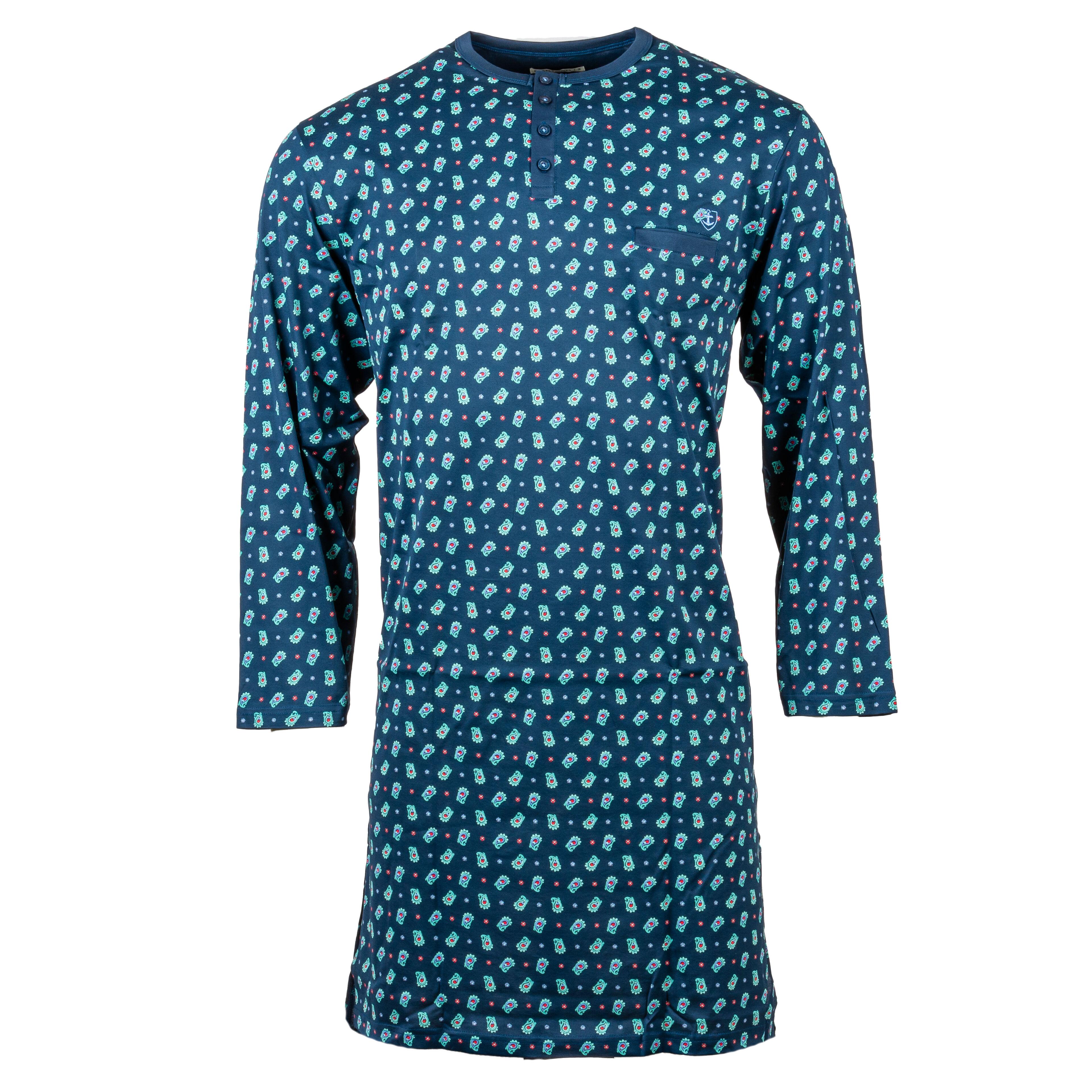 Mariner Liquette col tunisien Mariner en coton bleu marine à motifs verts - BLEU - L