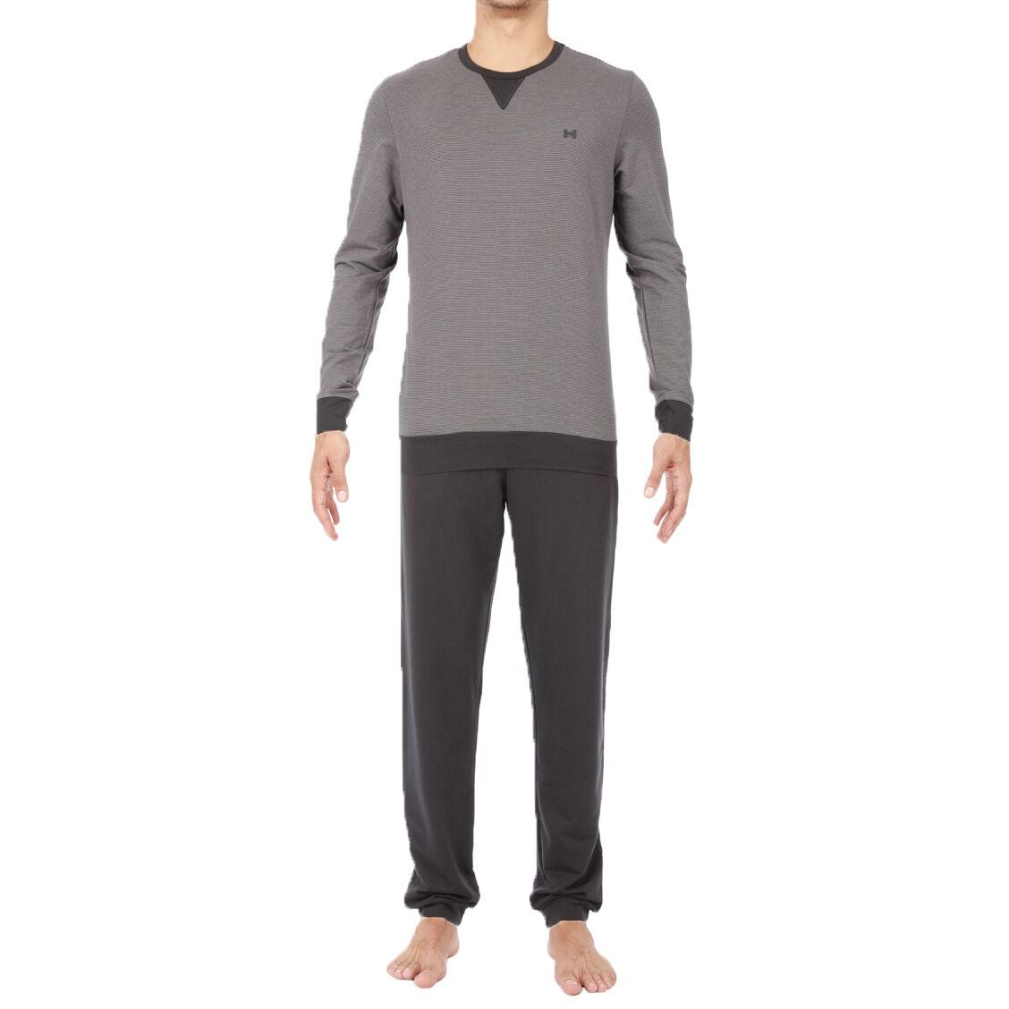 Hom Tenue d'intérieur HOM Emmanuel en coton et modal stretch forme jogging : tee-shirt col rond à fines rayures grises et gris anthracite et pantalon gris anthracite