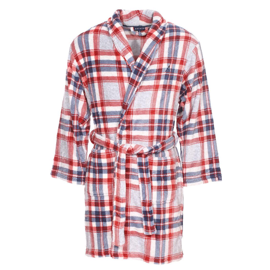 Arthur Robe de chambre Arthur Ice Gregor à carreaux gris chiné, rouges, bleus et blancs