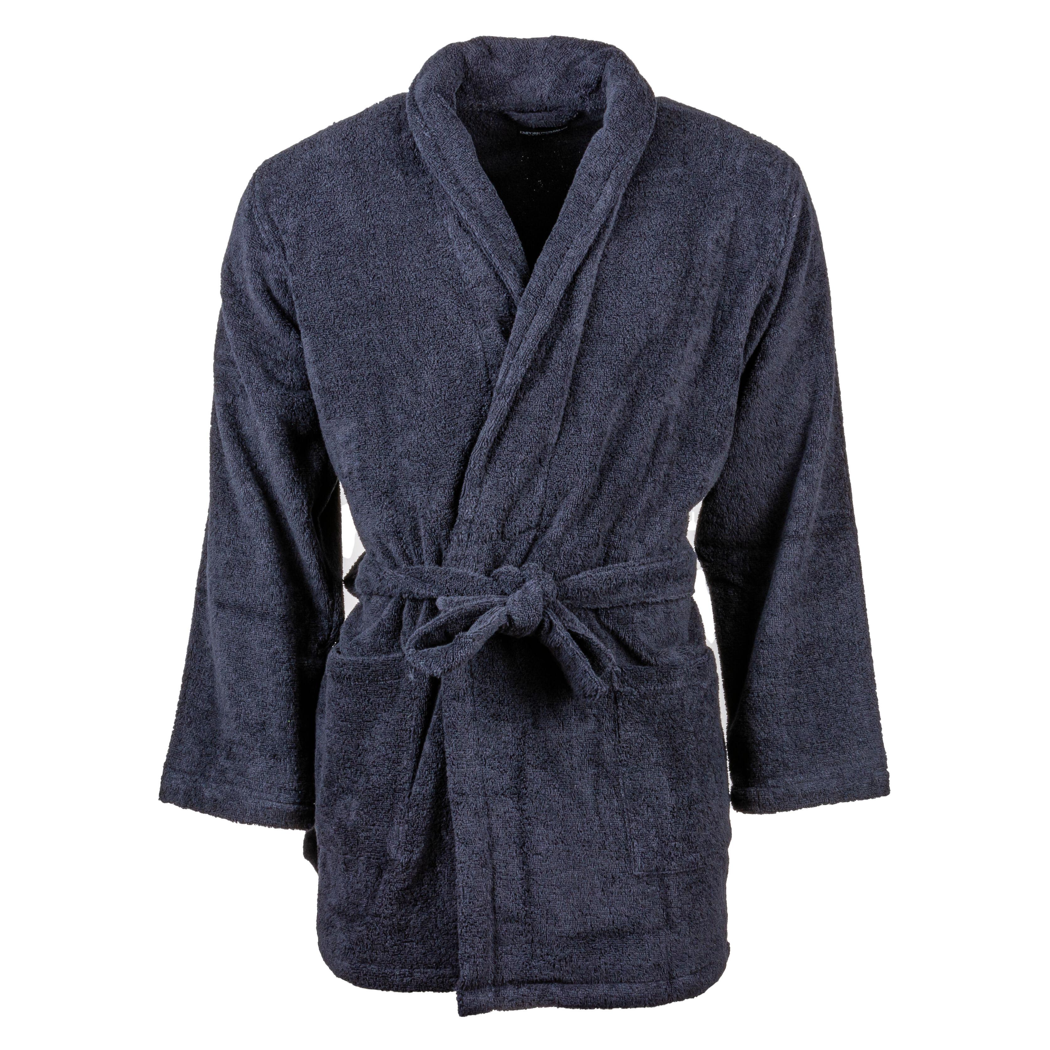 Emporio Armani Peignoir de bain Emporio Armani en éponge bleu marine au logo gris - BLEU -