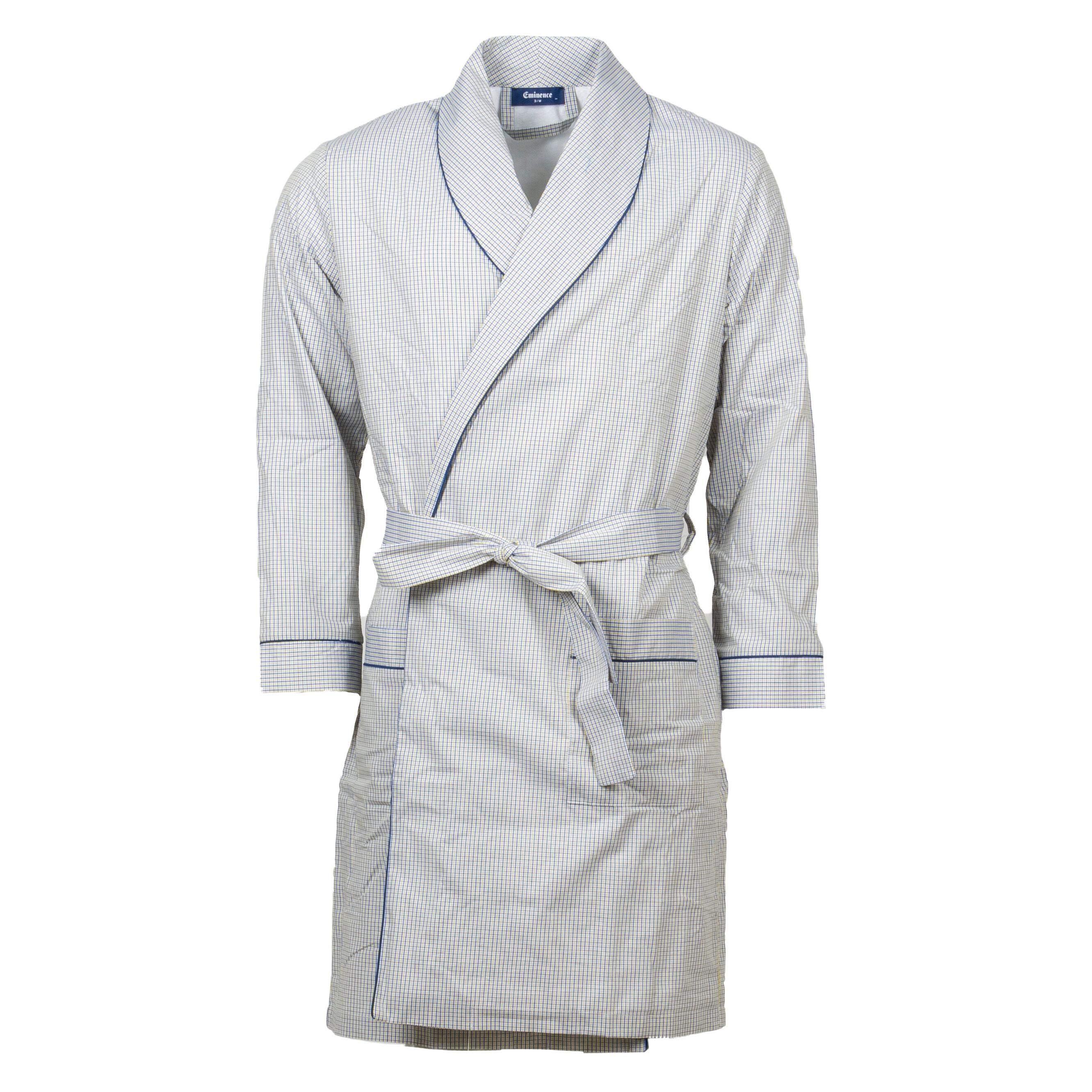 Eminence Robe de chambre Eminence en coton blanc à carreaux bleu marine et jaunes - BLANC -