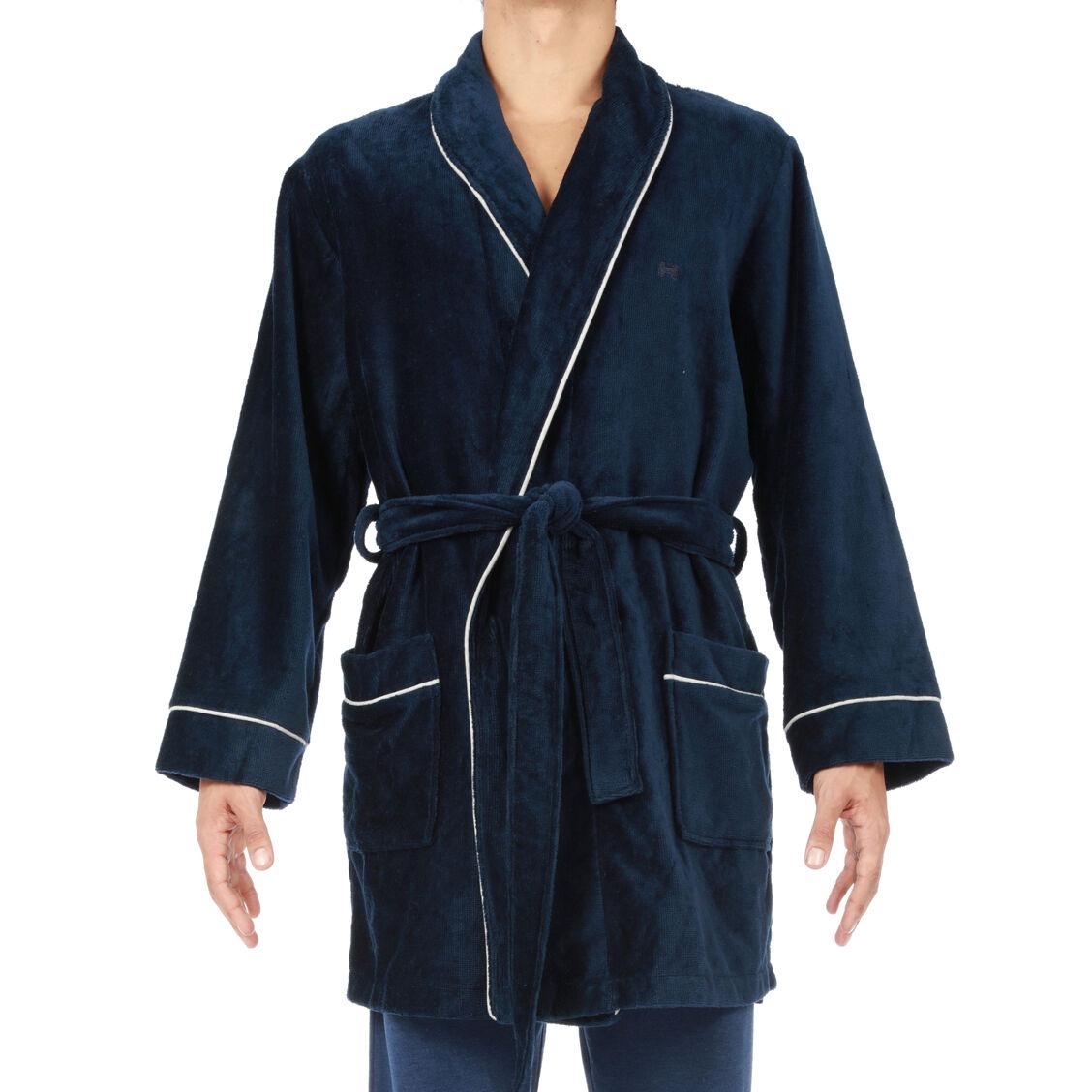 Hom Peignoir HOM Yotha en éponge velours bleu marine à liseré contrastant gris anthracite chiné - BLEU -