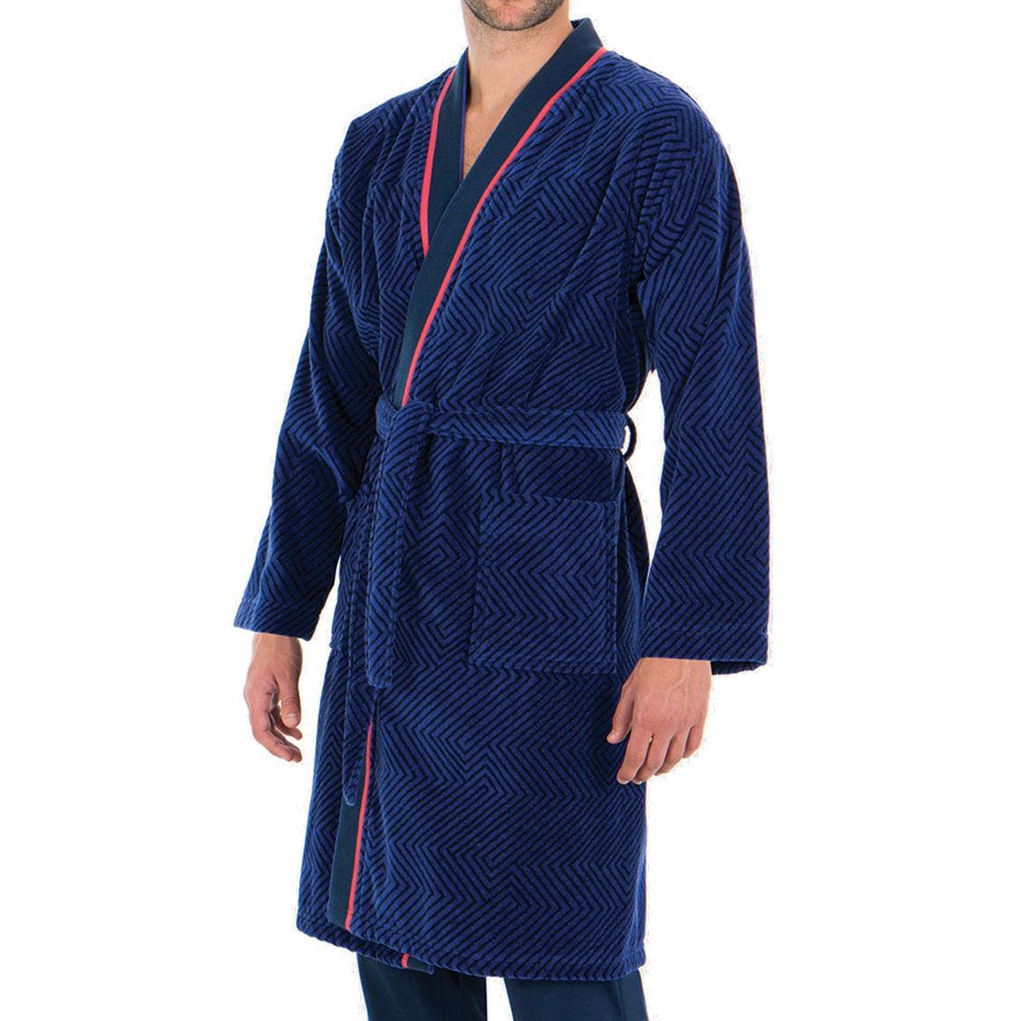 Eminence Robe de chambre Eminence Tailoring en coton bleu marine à chevrons bleu indigo - BLEU - L