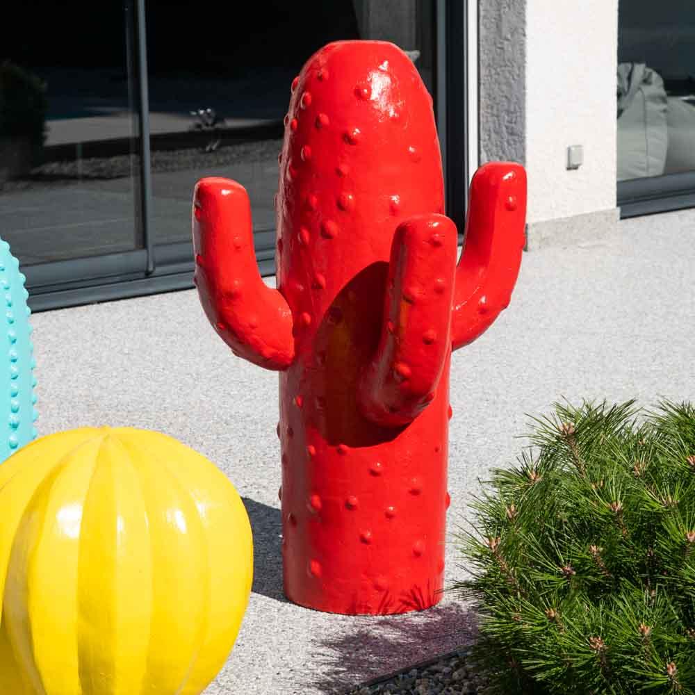 Wanda Collection Déco jardin cactus rouge grand modèle 105cm