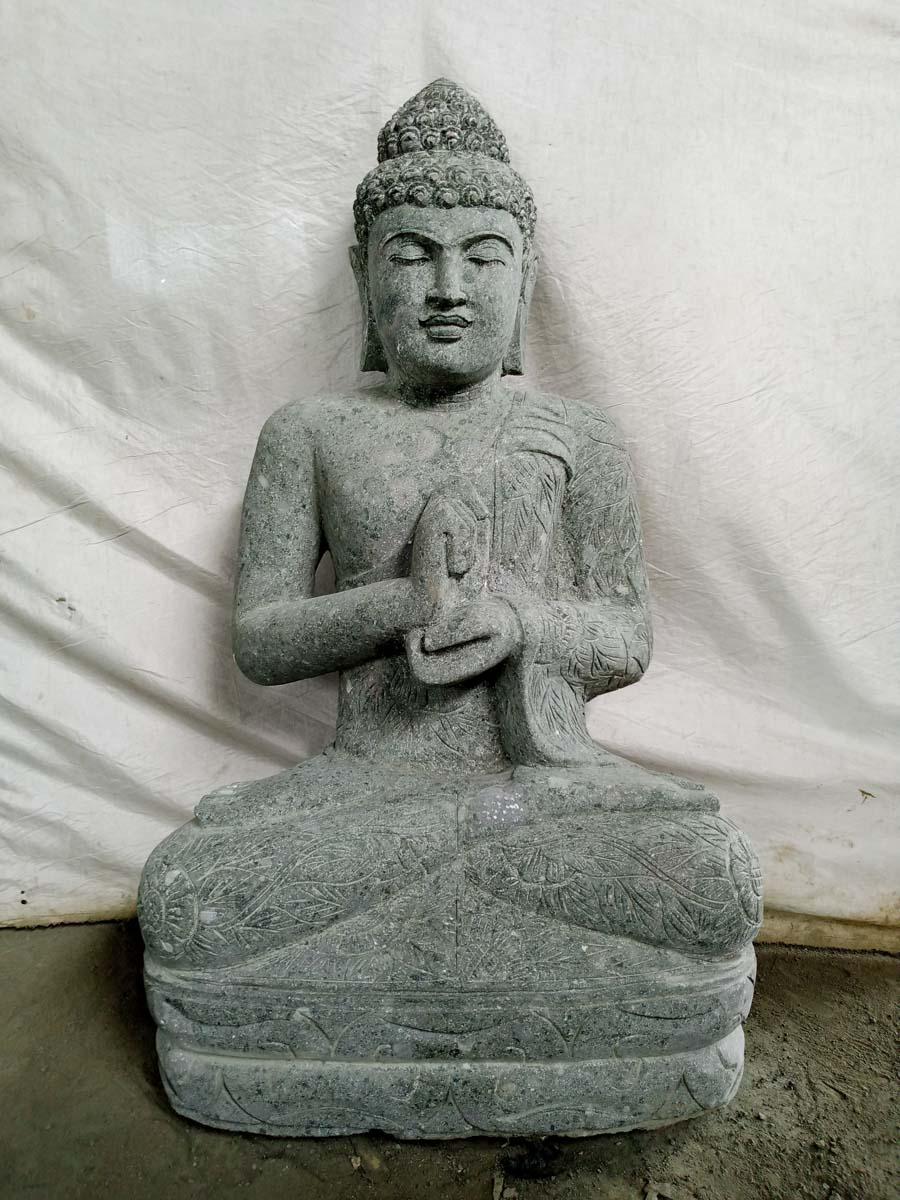 Wanda Collection Statue de Bouddha jardin zen en pierre volcanique position Chakra 1,20 m