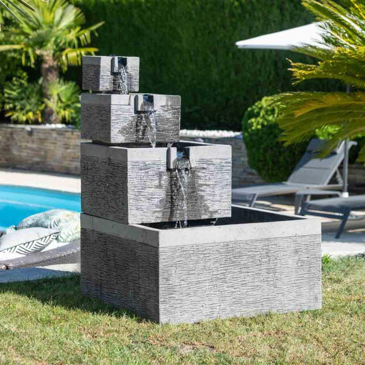 Wanda Collection Fontaine de jardin bassin carré 4 coupes noir gris