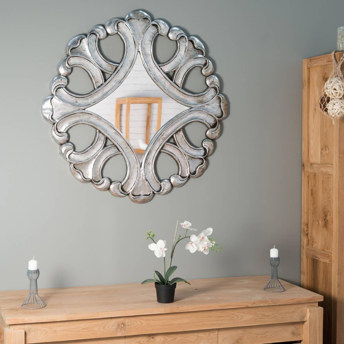 Wanda Collection Miroir Impérial 95cm en bois patiné argent