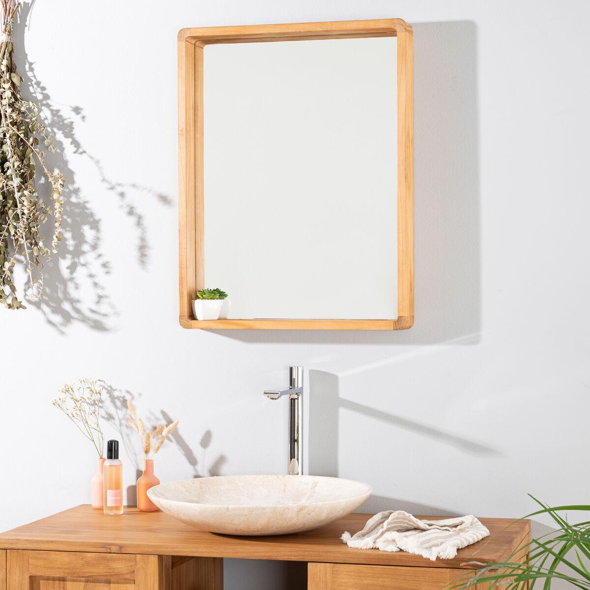 Wanda Collection Miroir salle de bain en teck Samba 50 X 65 cm