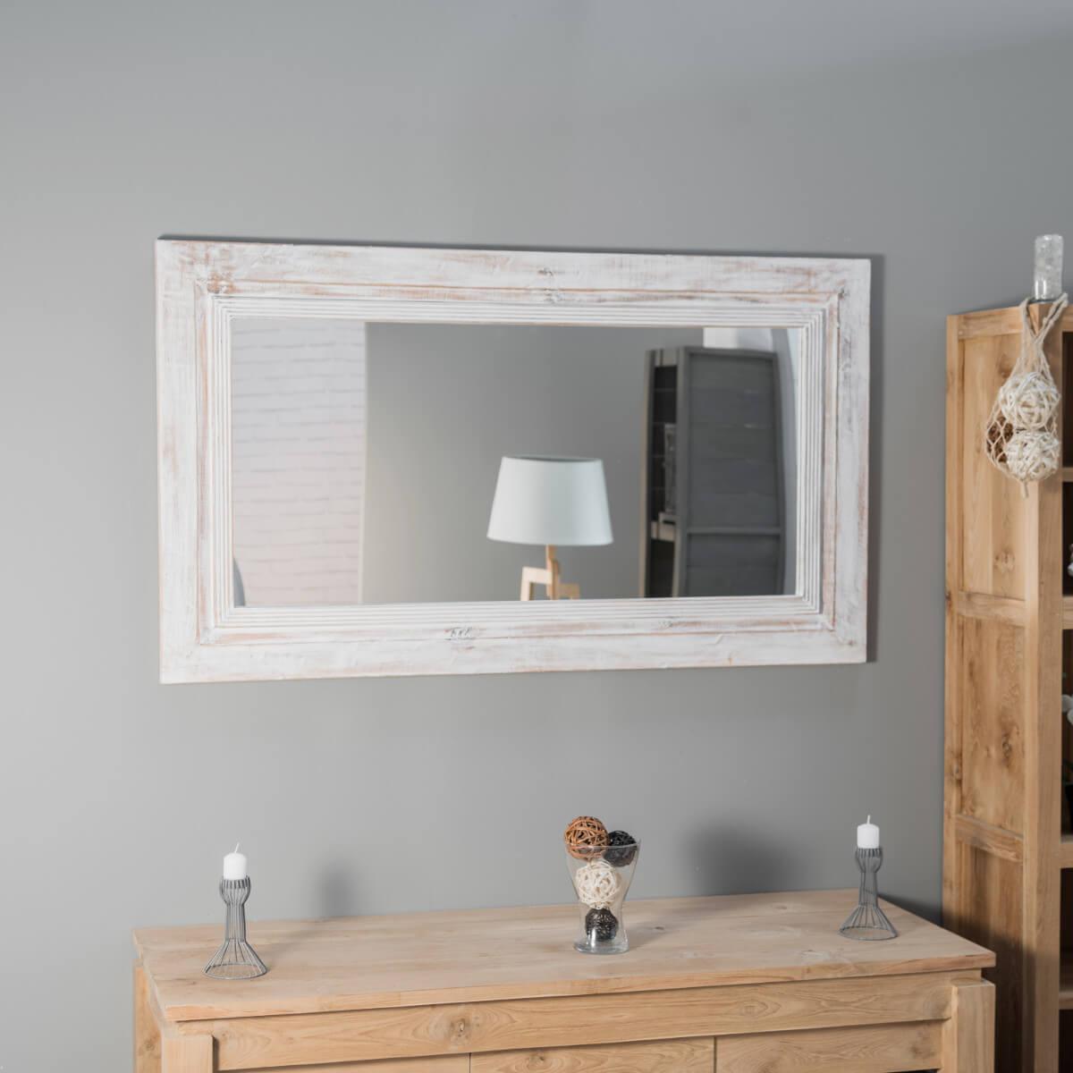 Wanda Collection Miroir Venise en bois patiné Cérusé blanc 140cm X 80cm