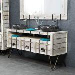 Wanda Collection Meuble double sous vasque LOFT mindi et métal 160 blanc... par LeGuide.com Publicité