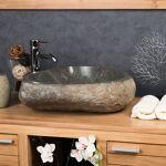 Wanda Collection Grande Vasque en pierre naturelle GALET DE RIVIERE 50... par LeGuide.com Publicité