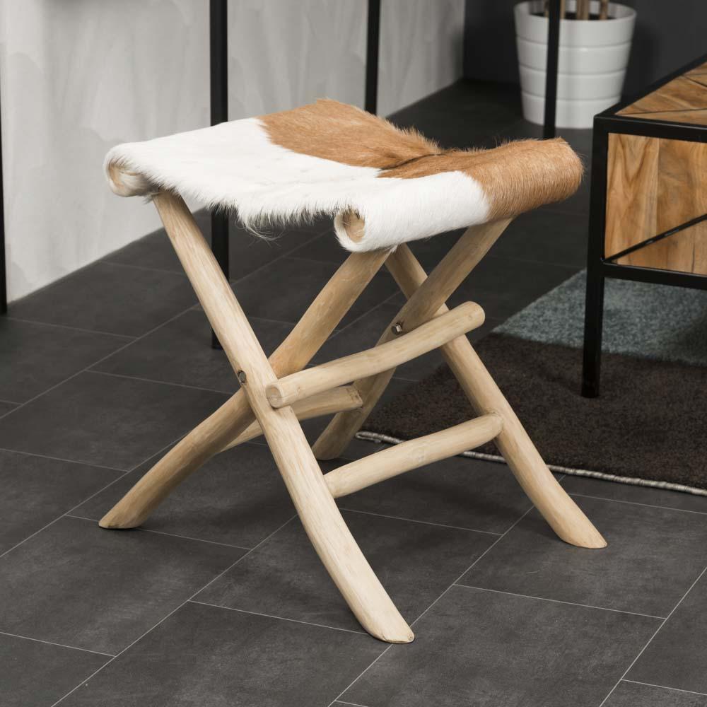 Wanda Collection Tabouret en bois pliant LODGE