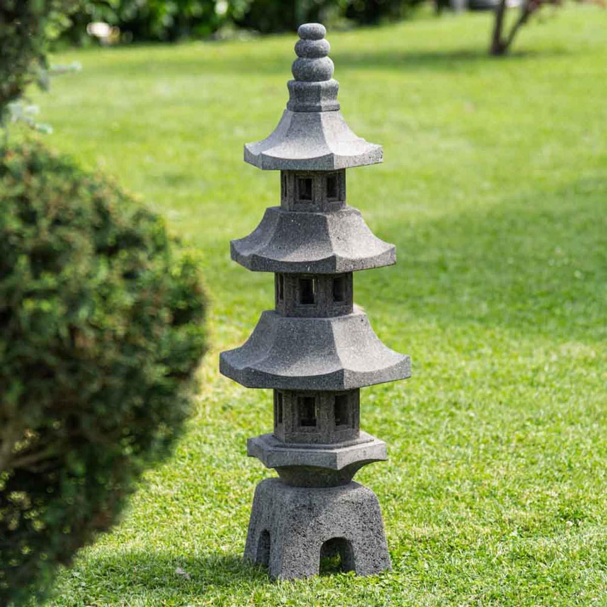 Wanda Collection Lanterne japonaise pagode en pierre de lave jardin zen 100 cm