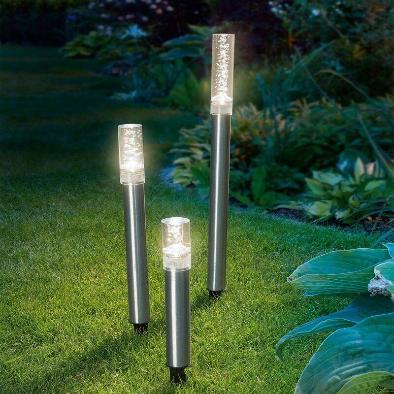 Esotec Balise solaire décorative à bulles Trio Sticks blanc chaud, boite de 3