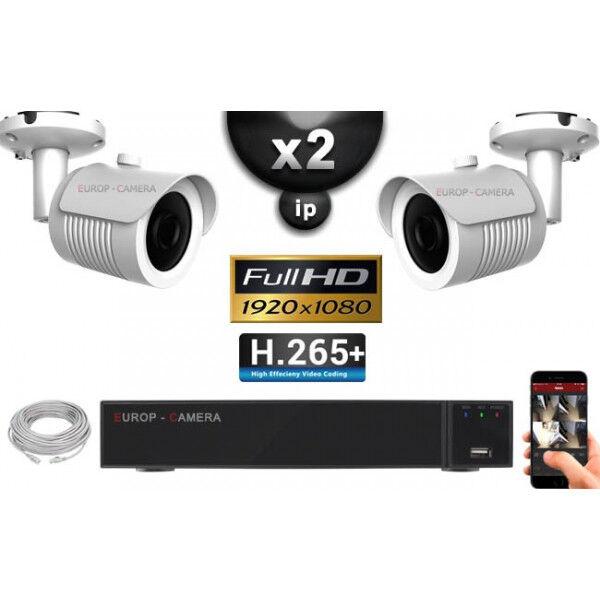 Europ Camera Kit Vidéo Surveillance PRO IP : 2x Caméras POE Tubes IR 30M Capteur SONY 1080P + Enregistreur NVR 9 canaux H265+ 1000 Go