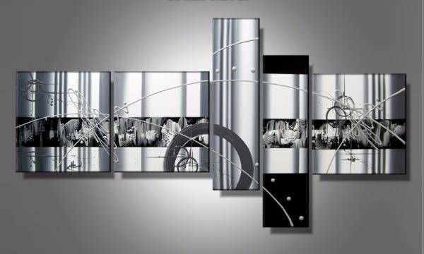 EJRAC Tableau abstrait noir et blanc Luxy