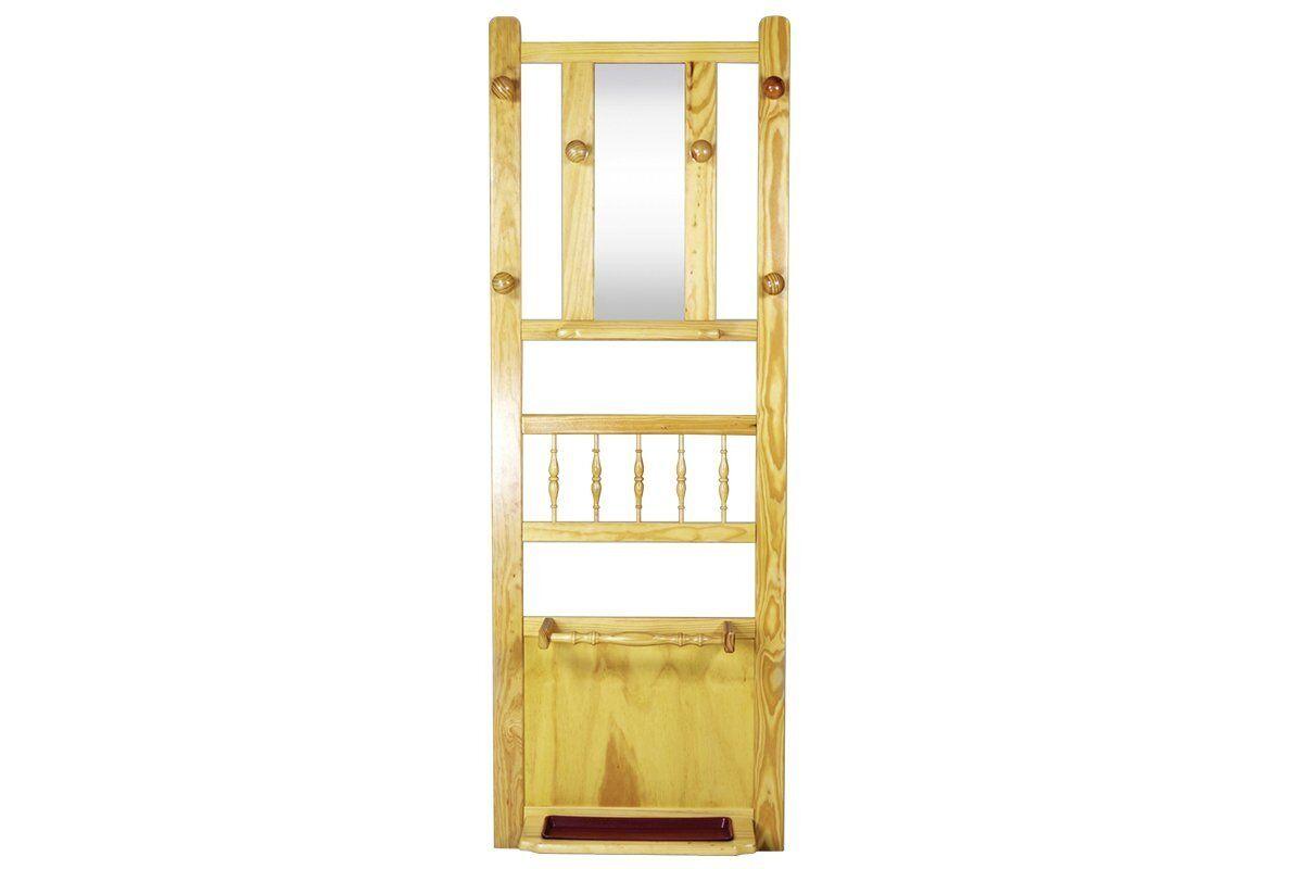 Abc meubles - vestiaire mural, 6 patères, miroir boréal vernis naturel