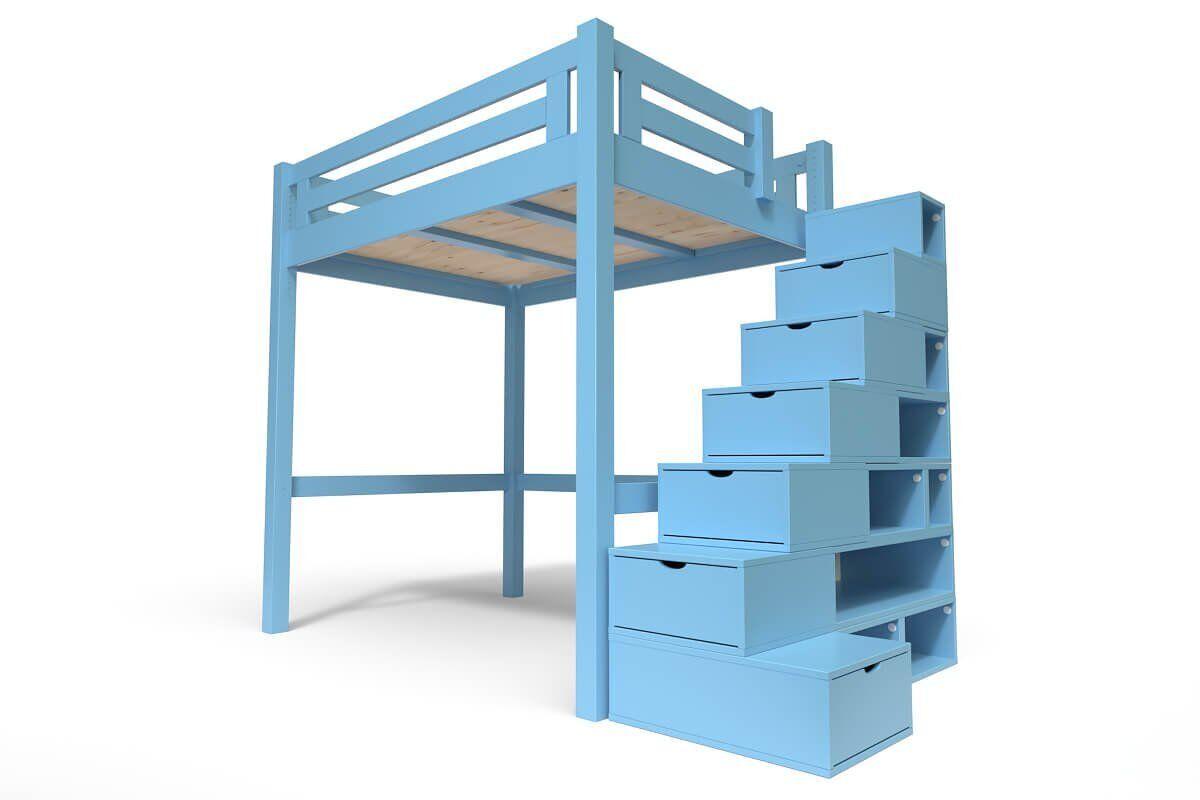 Abc meubles - lit mezzanine alpage bois + escalier cube hauteur réglable bleu pastel 120x200