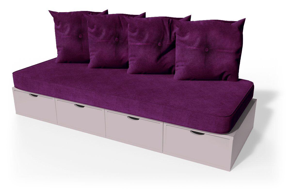 ABC MEUBLES Banquette cube 200 cm + futon + coussins - / - Violet Pastel