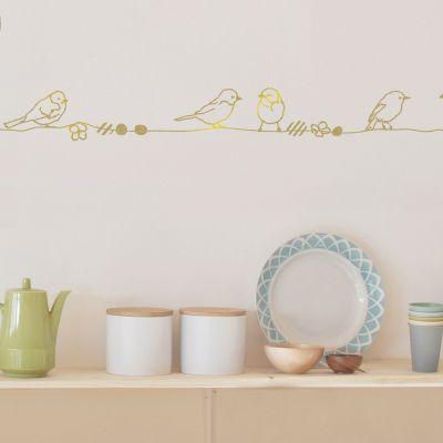 Frise murale Perles et Oiseaux Gold (5 m)