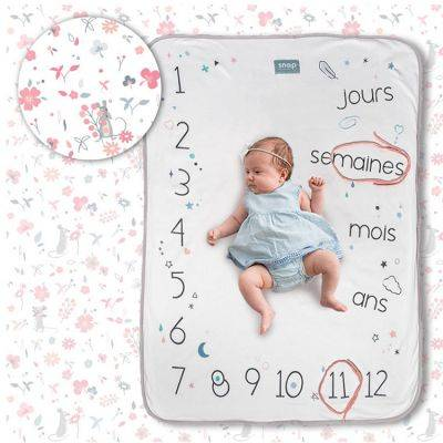Rosy Couverture étapes de bébé Rosy white