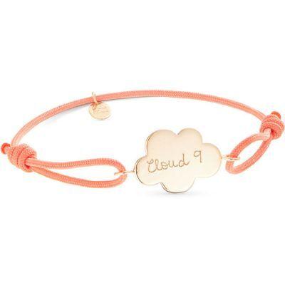 Bracelet bébé sur cordon Nuage personnalisable (plaqué or)