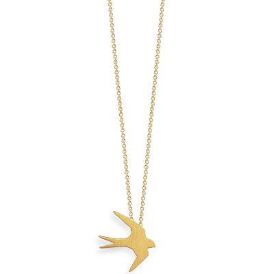 Collier chaîne 40 cm pendentif Nature hirondelle 13 mm (vermeil doré)