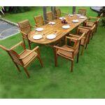 Wood-en-stock Salon de Jardin en Teck Table 3 mètres 10 fauteuils empilables... par LeGuide.com Publicité