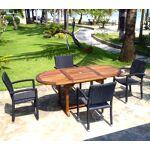 Wood-en-stock ensemble de jardin table teck 120-180 cm et 4 fauteuils... par LeGuide.com Publicité